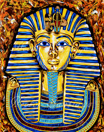 Hector Santiago Art - King Tut Art - Acrylics on Canvas